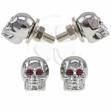 2x Chrome Skull License Plate Windshield Bolts Red Eyes Motorcycle Auto Fastener