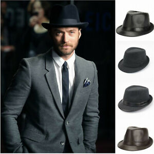 Men's Beach Classic Trilby Short Brim 100% Wool Gangster Fedora Hat with Band