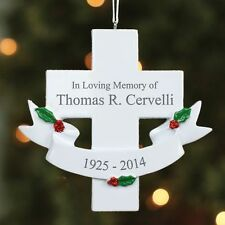 "Personalized ""In Loving Memory"" Memorial Cross Christmas Ornament Holiday"