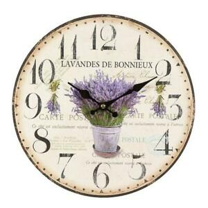 Rustic Lavender Wall Clock IN Country House Style, Romantic Retro Clock