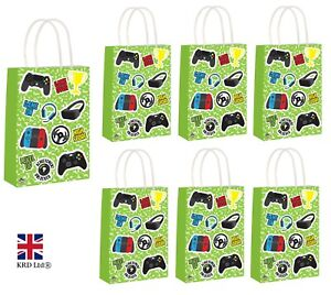 GAMER PARTY BAGS Kids Adult Boys Birthday Goodies Paper Toy Favours Bag Lot UK
