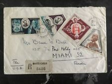 1955 Montecarlo Monaco Registered cover to Miami Florida Usa