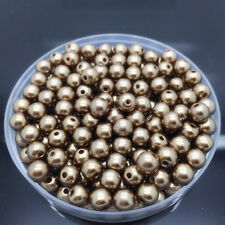 NEW 50Pcs 8mm Brown Acrylic Round Pearl Spacer Loose Beads Jewelry Making