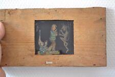 Ancienne plaque de verre humoristique à système (Le buveur et le diable)