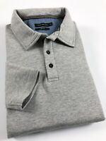 CALVIN KLEIN Polo Shirt Men's Slim Fit Long Sleeve Grey Marl Fleece