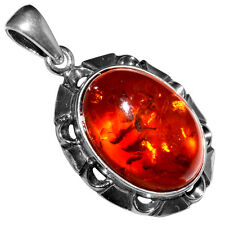 5.61g Authentic Baltic Amber 925 Sterling Silver Pendant Jewelry N-A1798