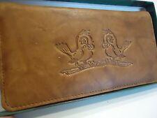 Love Birds Genuine Leather Checkbook Wallet,Tan
