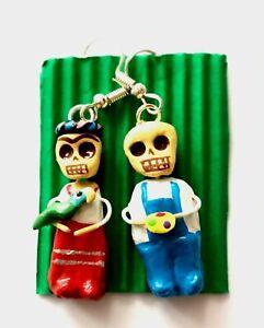 Mexican Folk Art Earrings Frida Kahlo & Diego Rivera Day of the Dead #01