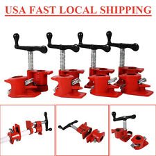 "3/4"" Wood Gluing Pipe Clamp Set Heavy Duty PRO Woodworking Cast Iron 4PACK US"