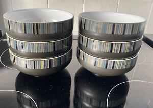 Denby Jet  Stripes  Cereal Bowls x6