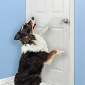 "Small Vinyl Door Guard for Dog Scratching - 16"" x 36"" Clear Easy Clean"