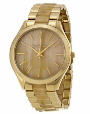 Michael Kors Ladies Watch Slim Runway Champagne Dial Gold-tone and Milky Horn