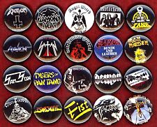 NWOBHM x 20 NEW buttons pins badges Budgie Tank Satan Fist Saxon Angel Witch