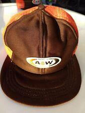 Vintage A & W A&W Restaurant All American Food Logo Trucker Mesh Hat Cap NOS