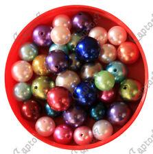 100 GRAMMI DI PERLINE in PLASTICA 16-20 MM PERLE MIX COLORI MISTI BEADS bijoux
