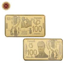 WR 2011 Canada 100 Dollars Bill Engrave Craft 24K Gold Bullion Art Coin Bar Gift