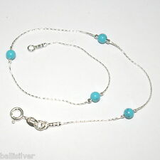 Sterling Silver 925 Chain and 4mm Turquoise Beads ANKLET - Made to your Size