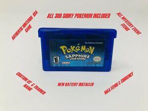 Authentic Pokemon Sapphire Unlocked - 386 Shiny Pokemon -  Brand New Battery