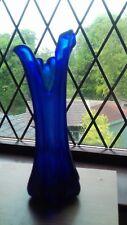 vintage blue glass tulip vase