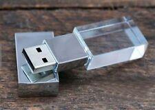 На заказ 3D свадебные фотографии логотип розовое золото/серебро стекло USB Flash Pen Drive
