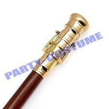 Nautical Wooden Walking Stick Cane Brass inSight Telescope