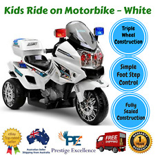 Kids Ride On Police Motorbike Motorcycle 50W 12V Battery Powered Car Toys White