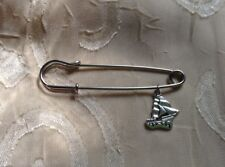 Safety Pin Brooch Cute Jewelry Unique New Silver Sailboat Boat Ship Large