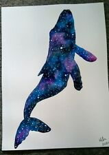 Painting by Hannah Penlington of a Galaxy Silhouette Whale, art, stars,