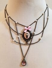 NEW Betsey Johnson Vintage Vicky Owl Pink Cameo Amber Pearl Filigree Necklace
