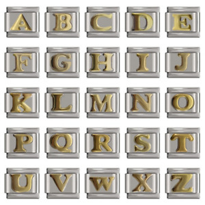 LETTERS Classic Gold -A-Z -Italian- Charms-Fits Nomination IN GIFT Pouch-NC43