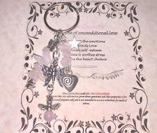 ROSE QUARTZ  HEALING GEMSTONE CRYSTALS LOVE  ANGEL BAG CHARM GIFT KEYRING