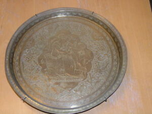Antique Engraved Brass Wall Hanger Larger plate Lovers Animals Birds 11""