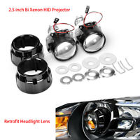"""2.5"""" Bi Xenon HID Projector Retrofit Headlight Lens H1 Bulb H4 H7 Adapters Hi/Lo"""
