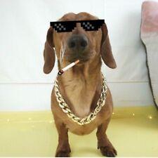 Pet Dog Cat Golden Necklace Hip-hop Chain Collars Cool Amusing Neckwear Gangdom
