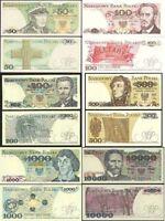 BANKNOTES FROM POLAND MINT UNC POLISH ZLOTY 50 100 200 500 1000 10000 NEW