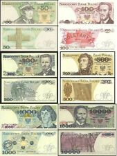 BANKNOTES FROM POLAND MINT UNC POLISH ZLOTY 50 100 200 500 1000 10000 NEW