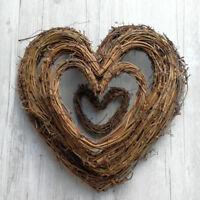 Natural Dried Rattan Heart Wreath Christmas Garland Wall Door Decor 10-30CM