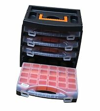 Set Of 4 Parts Storage Organisers & Carry Case With Removable Plastic Box Boxes