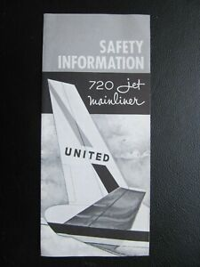 UNITED AIRLINES rare safety card BOEING B 720 JET MAINLINER edition 5/1961