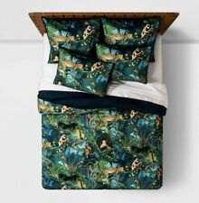 Opalhouse 3pc Quilt Set Full Queen Animal Panther Jungle Velvet Tufted Green