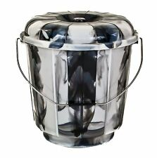 Small 5L BLACK Plastic Bucket With Lid Carry Handle Storage Container Box Bin