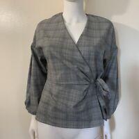 Zara Glen Plaid Peplum Wrap Top - Size S