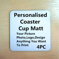 4pc Custom Personalised Photo, logo, picture Coaster Cup Pad Mug mat pad Square