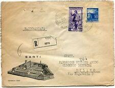 1951 Italia al Lavoro RACCOMANDATA Sarti - Foto Aerea - Bologna - 30 lire Democr