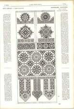 1863 Corte siebmacher Puntada español volantes ilustraciones Bordado de Punto de Cruz