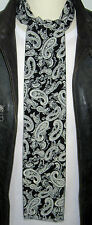 SUPERNOVA SCARVES Black Ivory White Paisley Polyester Mod Scarf Indie Scooter