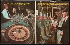 ATLANTIC CITY NJ Roulette Wheel Slot Machines Vintage Casino Postcard Old PC
