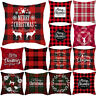 18'' Merry Christmas Red Pillow Case Cover Sofa Cushion Home Xmas Decoration
