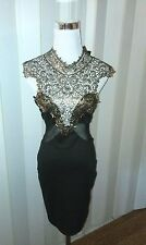 """The Clothing Company"""" Poetry"""" Black Gold LaceTop Dress Size Medium Beautiful!!"""