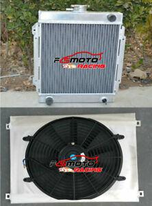 Aluminum Radiator+Shroud+Fan for Nissan DATSUN 1200 B110 120Y 1.2L 1970-1976 MT